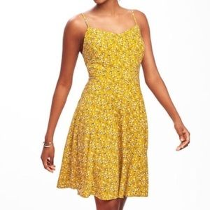 Old Navy Yellow Floral Cami Fit and Flare Dress
